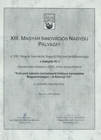 XIII. Magyar Innovációs Nagydíj 2004