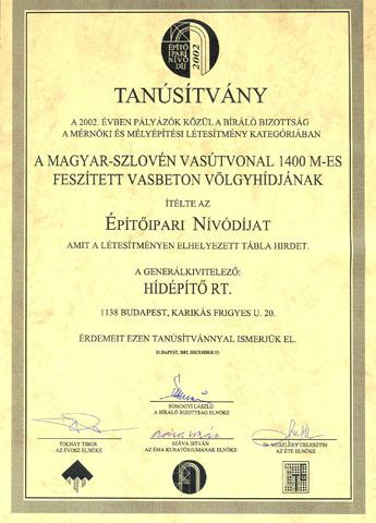Építőipari Nívódíj 2002
