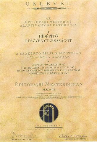 Építőipari Mesterdíj 1996