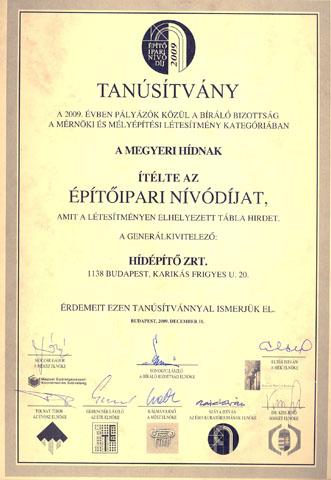 Építőipari Nívódíj 2009
